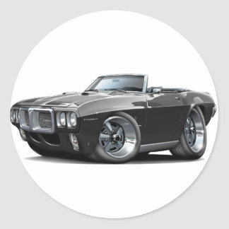 1969 Firebird Black Convertible Classic Round Sticker