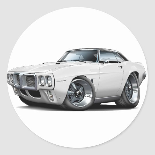 1969 Firebird White-Black Top Car Classic Round Sticker