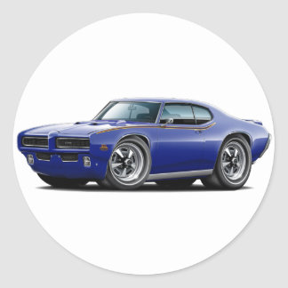 1969 GTO Judge Dark Blue Hidden Headlight Car Classic Round Sticker