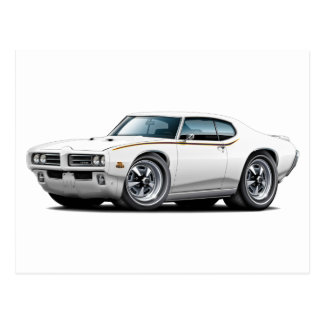 1969 GTO Judge White Car Postcard