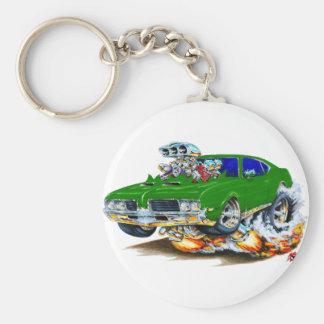 1969 Olds Cutlass Green Car Basic Round Button Keychain