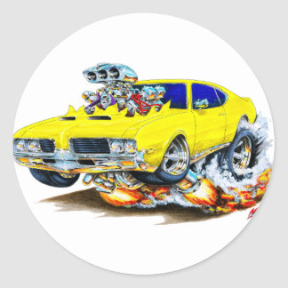 1969 Olds Cutlass Yellow Car Classic Round Sticker