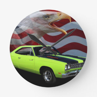 1969 Plymouth Road Runner Tribute Round Clock