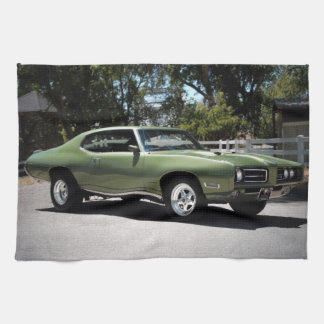 1969 Pontiac GTO Green Classic Muscle Car Kitchen Towel