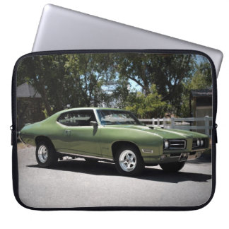 1969 Pontiac GTO Green Classic Muscle Car Laptop Sleeve