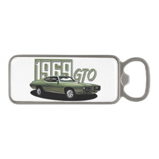 1969 Pontiac GTO Green Classic Muscle Car Magnetic Bottle Opener