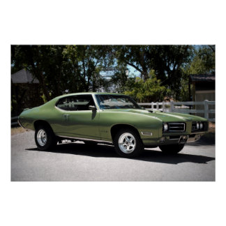 1969 Pontiac GTO Green Classic Muscle Car Poster
