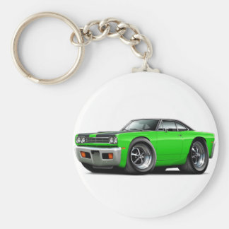 1969 Roadrunner Lime-Black Hood-Top Car Keychain