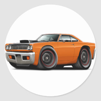1969 Roadrunner Orange-Black Hood Scoop Car Classic Round Sticker
