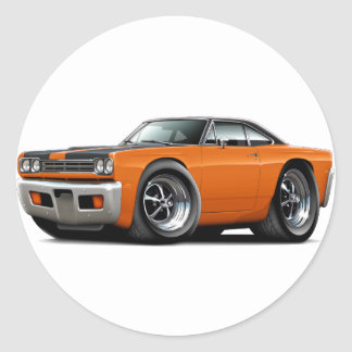 1969 Roadrunner Orange-Black Hood-Top Car Classic Round Sticker