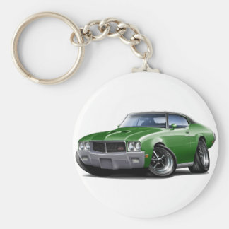 1970-72 Buick GS Green Black Top Car Basic Round Button Keychain