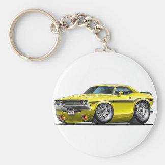 1970-72 Challenger Yellow Car Basic Round Button Keychain