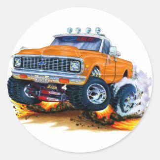 1970-72 Chevy CK1500 Orange Truck Classic Round Sticker