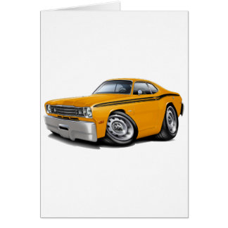 1970-74 Duster Orange Black Car Card