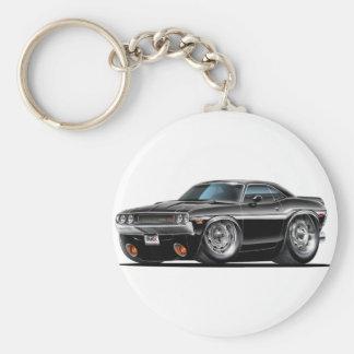 1970 Challenger Black Car Basic Round Button Keychain