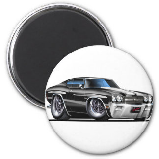 1970 Chevelle Black-White Car 2 Inch Round Magnet