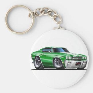 1970 Chevelle Green-White Car Basic Round Button Keychain