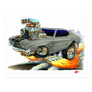 1970 Chevelle Grey-Black Car Postcard