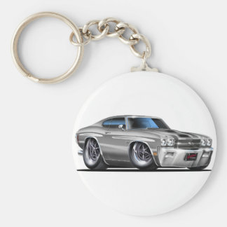 1970 Chevelle Silver-Black Car Basic Round Button Keychain