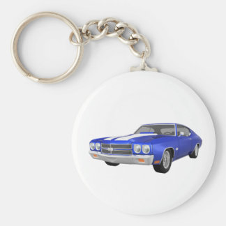 1970 Chevelle SS: Blue Finish: Basic Round Button Keychain