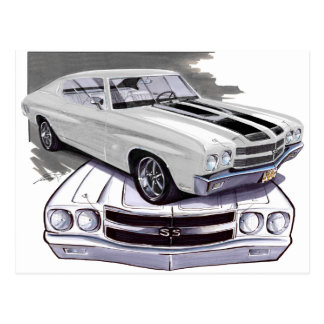1970 Chevelle White-Black Car Postcard