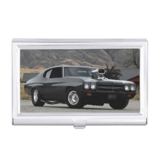 1970 Chevy Chevelle Drag Muscle Car Business Card Holder