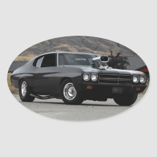 1970 Chevy Chevelle Drag Muscle Car Oval Sticker