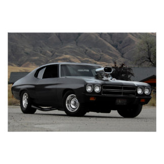 1970 Chevy Chevelle Drag Muscle Car Poster