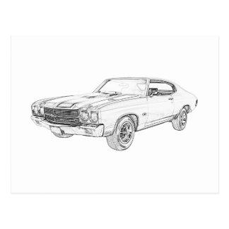 1970 chevy chevelle postcard