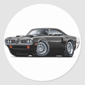 1970 Coronet RT Black-White Car Classic Round Sticker