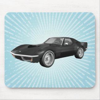1970 Corvette Sports Car: Black Finish: Mousepad