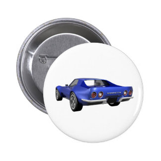 1970 Corvette Sports Car: Blue Finish 2 Inch Round Button