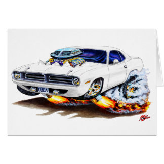 1970 Cuda White Car Card