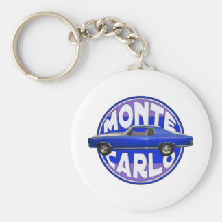 1970 monte carlo midnight blue basic round button keychain