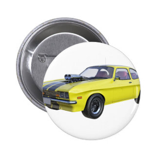 1970 Muscle Car Yellow with Black Stripe 2 Inch Round Button