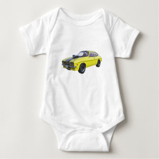 1970 Muscle Car Yellow with Black Stripe Baby Bodysuit