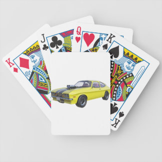 1970 Muscle Car Yellow with Black Stripe Bicycle Playing Cards