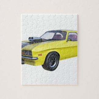 1970 Muscle Car Yellow with Black Stripe Jigsaw Puzzle