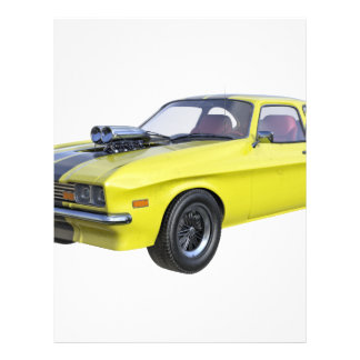 1970 Muscle Car Yellow with Black Stripe Letterhead