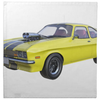 1970 Muscle Car Yellow with Black Stripe Napkin