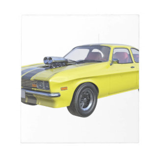 1970 Muscle Car Yellow with Black Stripe Notepad