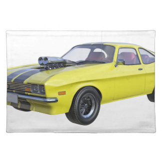 1970 Muscle Car Yellow with Black Stripe Placemat