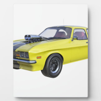 1970 Muscle Car Yellow with Black Stripe Plaque