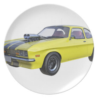 1970 Muscle Car Yellow with Black Stripe Plate