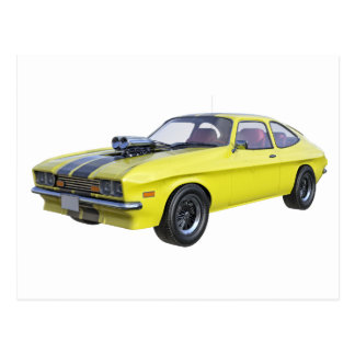 1970 Muscle Car Yellow with Black Stripe Postcard