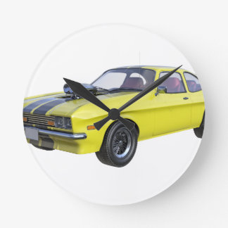 1970 Muscle Car Yellow with Black Stripe Round Clock