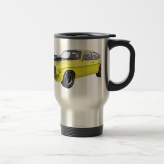 1970 Muscle Car Yellow with Black Stripe Travel Mug