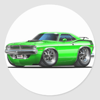 1970 Plymouth Cuda Green Car Classic Round Sticker