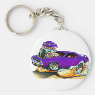 1970 Plymouth Cuda Purple Car Basic Round Button Keychain