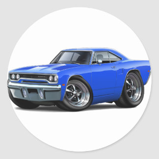 1970 Roadrunner Blue Car Classic Round Sticker